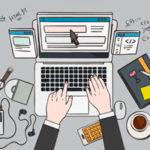 プログラミングする人 パソコン 手帳 コーヒー