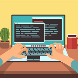 プログラミング パソコン コーヒー サボテン コーディング中
